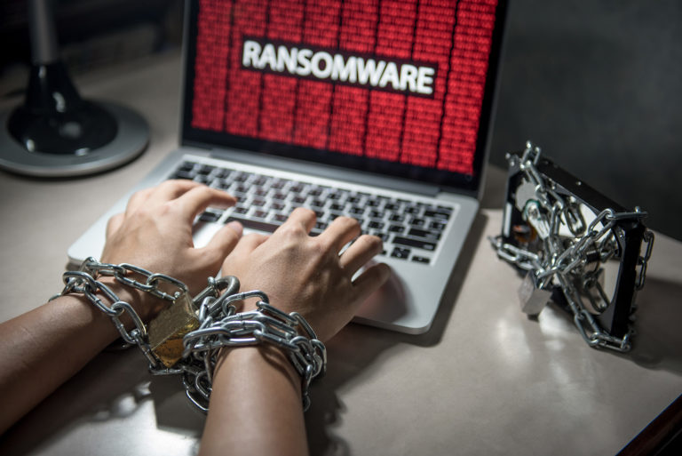 ransomware attack on a laptop